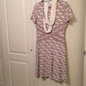Knit work dress w infinity scarf